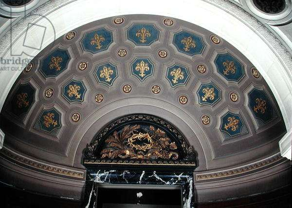 View of the coffered ceiling above the fireplace in the Galerie de la Chapelle, 1877-99 (painted plaster)
