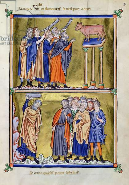 Ms 9/1695 fol.13 The Adoration of the Golden Calf and Moses Destroying the Tablets of the Law, from the 'Psautier d'Ingeburg de Danemark', c.1210 (vellum)