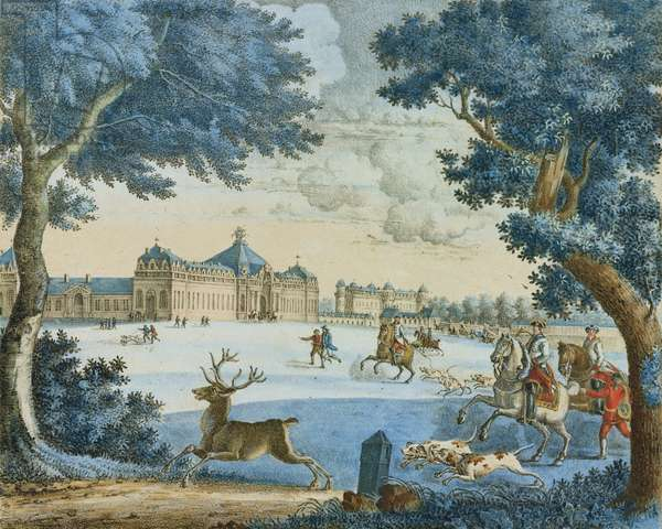 The Duke of Bourbon Hunting Stag at Chantilly (coloured engraving)