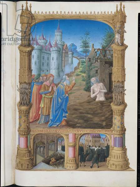 Ms 65/1284 f.82r Job, from the Tres Riches Heures du Duc de Berry, early 15th century (vellum)
