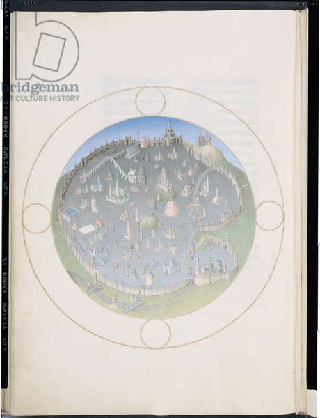 Ms 65/1284 f.141v Plan of Rome, from the Tres Riches Heures du Duc de Berry, early 15th century (vellum)