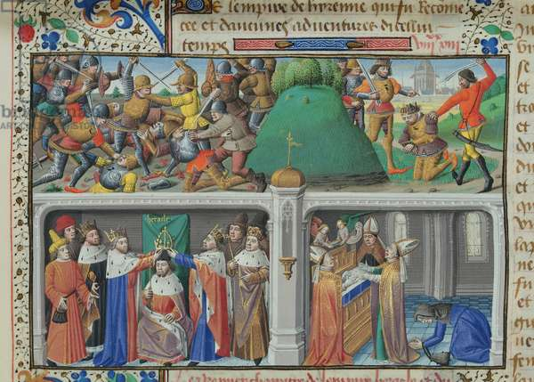 Ms 722/1196, fol.43v, Scenes from the life of Emperor Heraclius, from Le Miroir Historial, by Vincent de Beauvais (vellum)