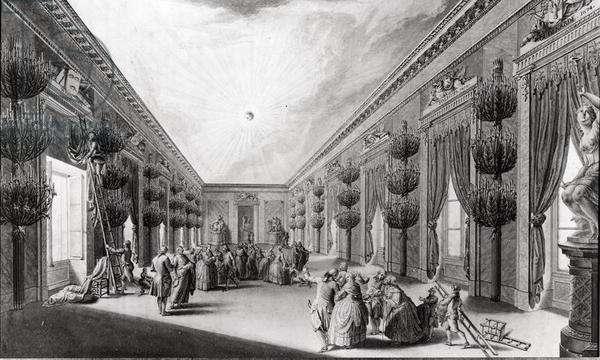 Room in the Palais des Etats, Dijon, c.1784 (pen & ink on paper) (b/w photo)