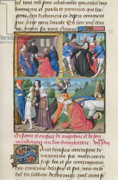 Ms 722/1196 fol.97r, The martyrdom of St. Boniface, from Le Miroir Historial by Vincent de Beauvais (vellum)