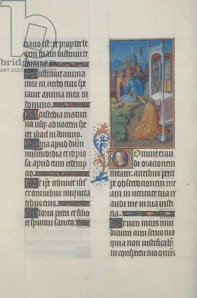 ms. 65/1284 fol. 70v Psalm 142, David in Prayer, from 'Très Riches Heures du Duc de Berry' (vellum)