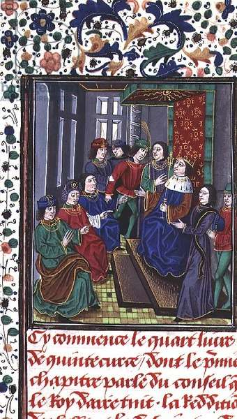 Ms 755/467 fol.108r Council of the King of Aire, from 'Des Faits du Grand Alexandre' (vellum)