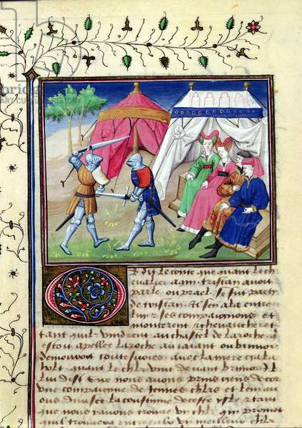 Ms 648/404 f.50v Two Knights Duelling in Front of Tents, from Roman des Chevaliers Galaad, Tristan et Lancelot (vellum)