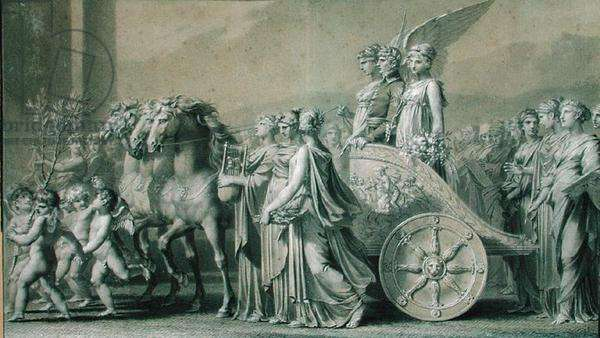 The Triumph of the Consul Bonaparte (pre-restoration) (pencil on paper)
