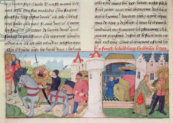 Ms 869/522 fol.41r Scenes from the life of a king: being arrested, taking a gold goblet from a chest and meeting soldiers (vellum)