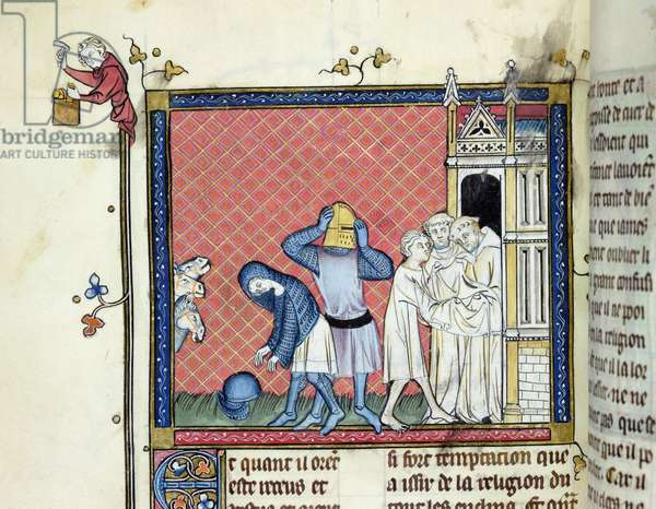 Ms 137/1687 fol.146v Three knights changing from their suits of armour into the religious habit at the entrance of a monastery, miniature from Recueil de Traites de Devotion, 1371-78 (vellum)