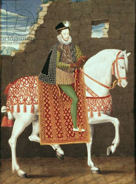 Equestrian Portrait of Henri III (1551-89) de Valois (gouache on panel)