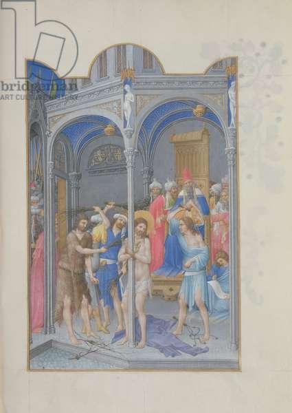 Ms. 65/1284 fol. 144r The Flagellation, from 'Très Riches Heures du Duc de Berry' (vellum)