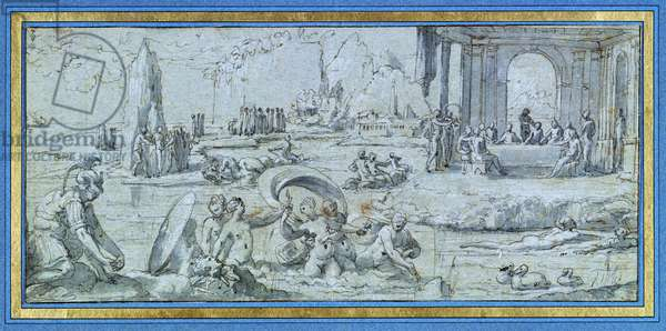 Scenes from the Story of Perseus, study for a fresco in the Sala del Perseo of the Castel Sant' Angelo, Rome, c.1546 (pen & ink and wash on paper)
