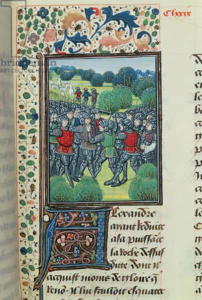 Ms 755/467 fol.191r Rebels refuse to offer allegiance to the king, from 'Des Faits du Grand Alexandre' (vellum)