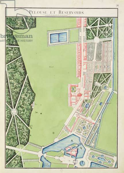 Fol.31 The Lawn and Reservoirs, Chateau de Chantilly, from 'Atlas du Comte du Nord', 1784 (pen & ink and w/c on paper)