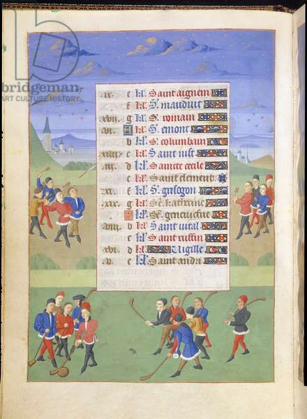Ms 76/1362 fol.11v November: Playing Darts and Cholle, from the 'Hours of the Duchess of Burgundy', c.1450 (vellum)