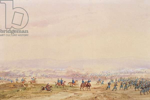 Battle of Isly in 1844, detail of the right hand side (w/c on paper)