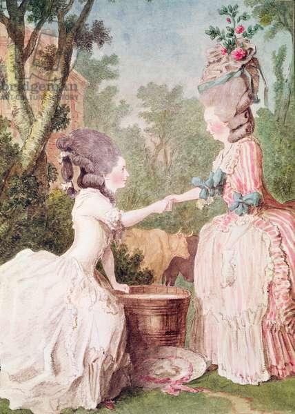 Madame de la Houze et Mademoiselle de Longueil  (pencil, watercolour, gouache and red chalk on paper) c.1780