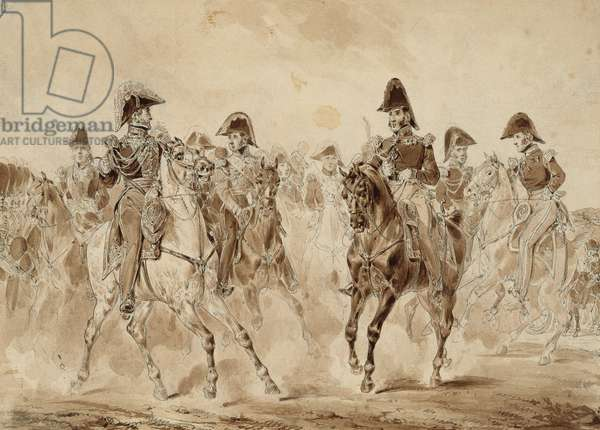 King Charles X (1757-1836) and his Troops, 1824-30 (pen & ink and pencil on paper)