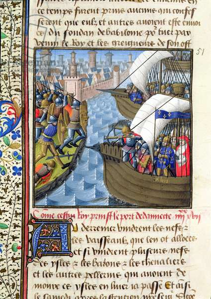 Ms 722/1196 f.494v The Crusaders Fleet at Damietta in June 1249, from Le Miroir Historial, by Vincent de Beauvais (vellum)