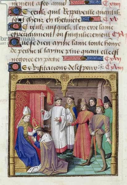 Ms 722/1196 fol.202v The Coronation of Henri V (1081-1125) Holy Roman Emperor, from Le Miroir Historial, by Vincent de Beauvais (vellum)