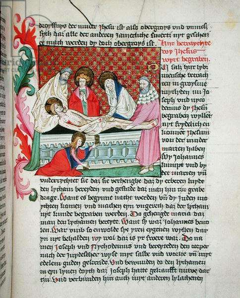 Ms 35/1455 fol.148v The Entombment, from 'The Life of Jesus' (vellum)