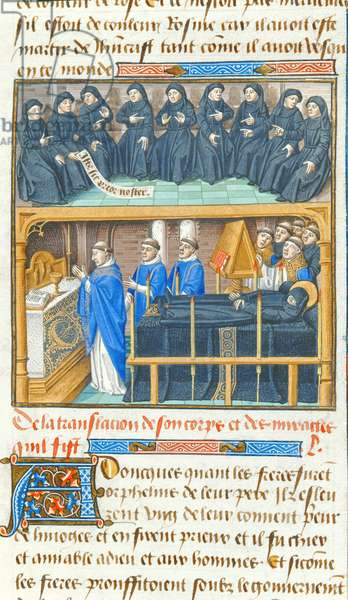 Ms 722/1196 fol.164v, Removal of the body of St. Etienne and the election of a new prior, from Le Miroir Historial, by Vincent de Beauvais (vellum)