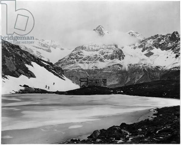 View of the Lac Noir at Zermatt and the Gabelhorn, c.1863-65 (albumen print from a glass negative) (b/w photo)