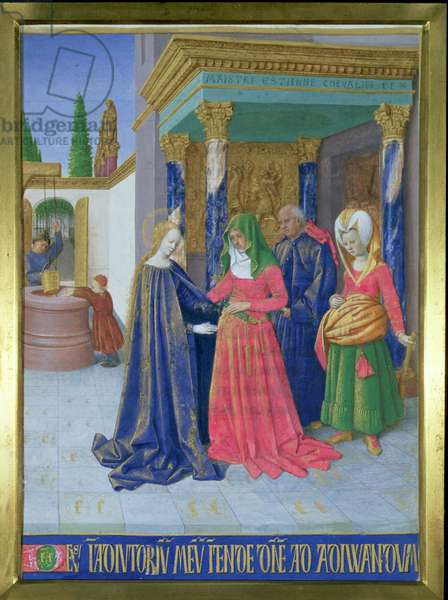 Ms Fr 71 f/6 The Visitation from Hours of the Virgin, from the Hours of Etienne Chevalier, c.1445 (vellum)