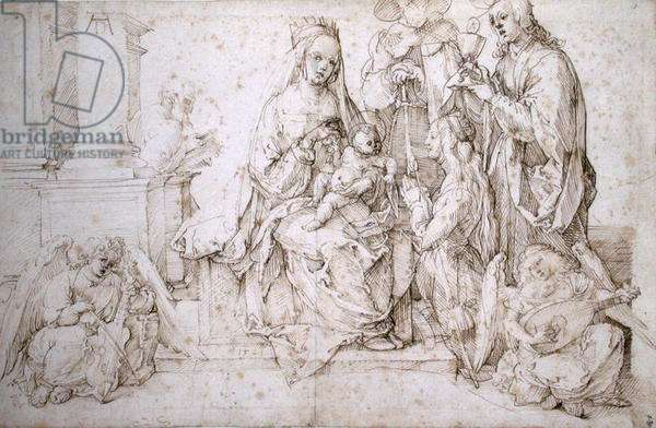 Virgin and Child with Saints and Angels (formerly known as the Sacra Conversazione with SS Catherine of Alexandria, James the Great and St. John) 1521 (pen & ink on paper)