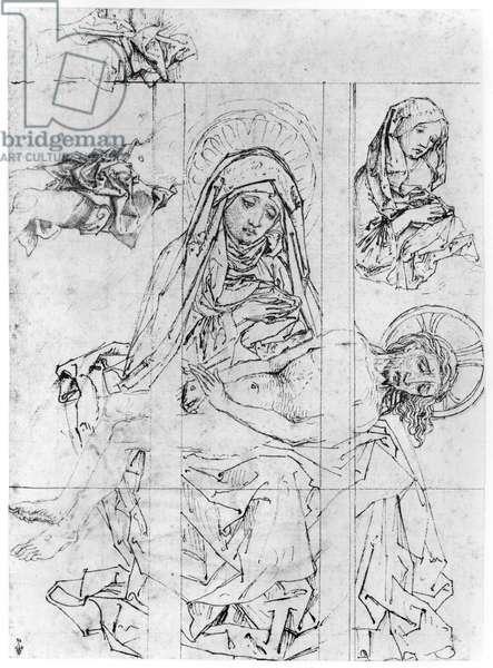 Pieta, two studies of the Virgin (pen, ink & wash on paper) (b/w photo)