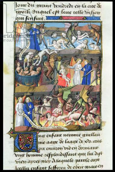 Ms 722/1196 fol.275v The Vision of Hell of a Child Named Guillaume, from Le Miroir Historial, by Vincent de Beauvais (vellum)