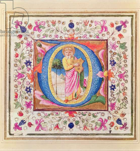 Historiated initial 'Q' depicting King David, from a Book of Hours, 1452 (vellum)