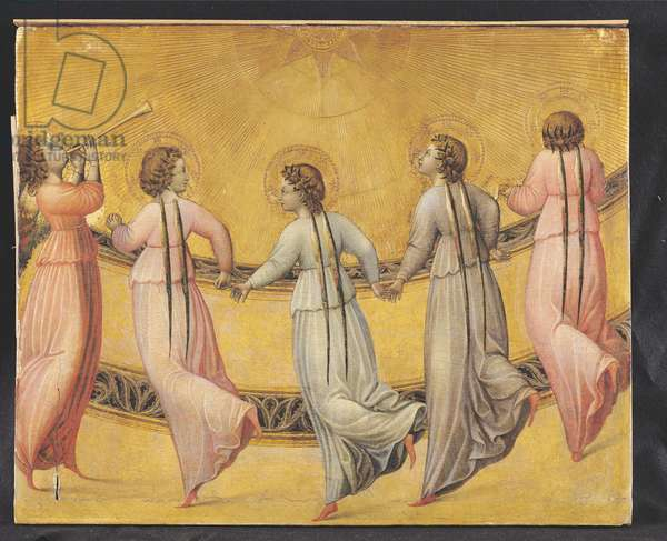 Five Angels Dancing Before the Sun (tempera & gold leaf on panel)