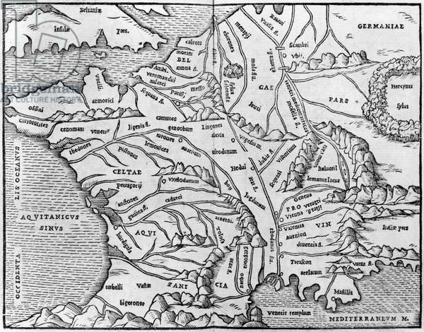 Map of France, illustration from 'Commentaires' by Julius Caesar (101-44 BC) 1570 (engraving) (b/w photo)