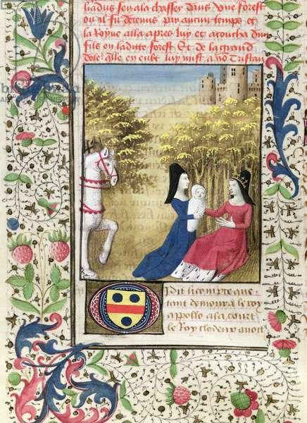 Ms. 645-647/315-317 t.1 fol 37v  Birth of Tristan (vellum)