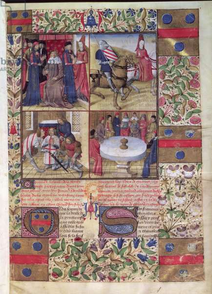 Ms 645-647/315-317 t.3 fol.1 King Arthur; Lancelot and the Lady; the arming of Sir Galahad; the Round Table and the Holy Grail, from the Roman de Tristan (vellum) (for detail see 37036)