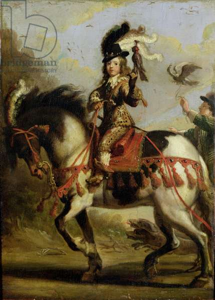 Equestrian Portrait of the Young Louis XIV (1638-1715) Leaving for the Hunt, c.1647 (oil on canvas)