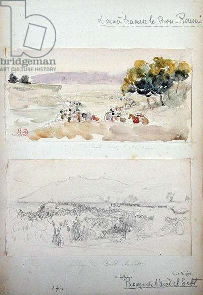 The Army Crossing the Bou-Roumi Passage from Oued El Sebt, from 'Vues et Portraits Faits Pendant la Campagne de Mai 1840', 1840 (pencil & w/c on paper)