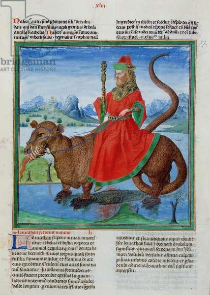 Ms 724/1596 fol.43r Leviathan, from 'Liber Floridus' by Lambert de Saint-Omer, c.1448 (vellum)