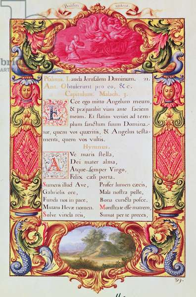 Ms XX CI 15 f.39 Page of text with decorative margin by the Atelier des Invalides, from the 'Hours of Louis XIV', 1688-93 (vellum)