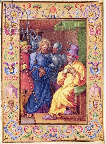 Ms 39/1601 Jesus Before Caiaphas, from 'Passio Domini Nostri Jesu Christi Secundum Joannem' (vellum)