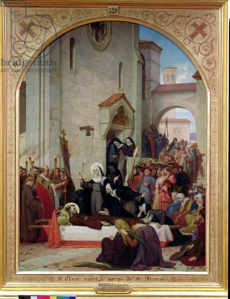 St. Clare Receiving the Body of St. Francis of Assisi, 1858 (oil on canvas)