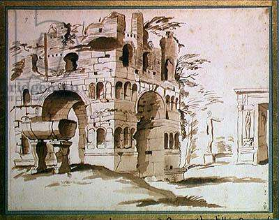 The Arch of Janus in Rome (ink and wash on paper)
