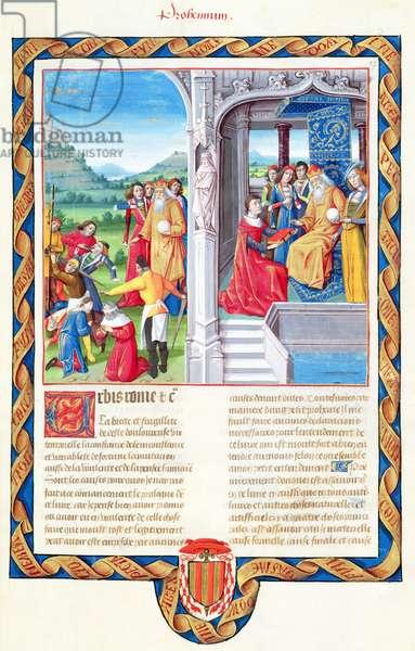 Ms 833-834/313-314 t.I fol.3r People put to death; the author offers his book to the Emperor Tiberius, by Valerius Maximus for Philippe de Commynes, from 'Dicta et Facta Memorabilia', c.1475 (vellum)