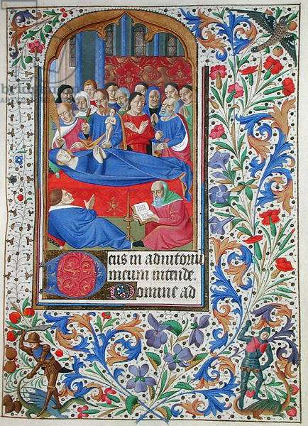 Ms 76/1362 The Death of the Virgin, from the Hours of the Duchess of Burgundy, c.1450 (vellum)