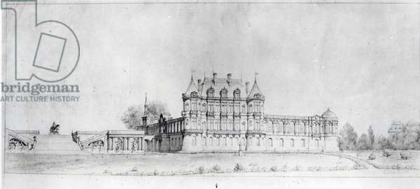 View of the Chateau de Chantilly from the South (pen & ink on paper) (b/w photo)