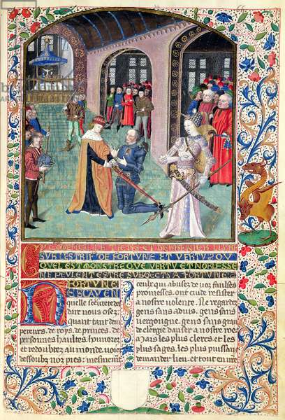 Ms 296/1512 Arming a Knight in the Presence of Virtue, from 'L'Estrif de Fortune et Virtue' by Martin le Franc (vellum)