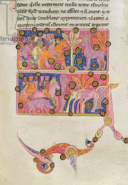 Ms 726/493 fol.98 Alexander the Great (356-323 BC) and the Indian Monsters, from 'Histoire Ancien' (vellum)