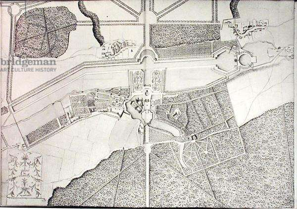 Plan of Chantilly, 1673 (pen & ink on paper)